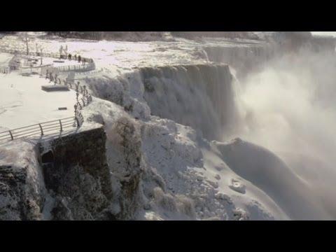 Spectacular video of the frozen Niagara Falls