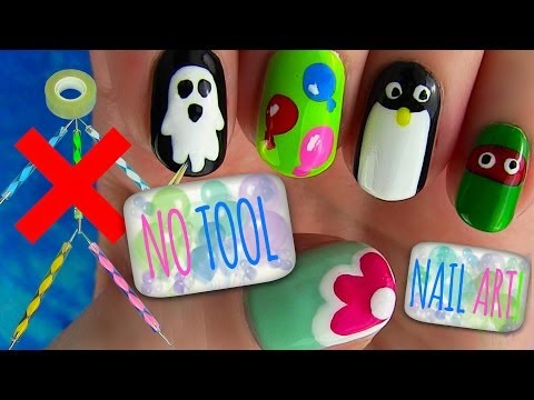 No Tool Nails Tutorial! 5 Nail Art Designs,