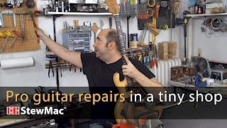 Watch the Trade Secrets Video, Evan Gluck: pro guitar repairs in a very small shop
