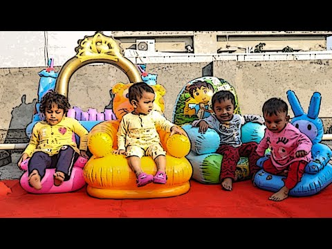 Cute Kids Fun Playing In Inflatable Chair & Toys - Beautiful Children Jumping & Playing In Chair