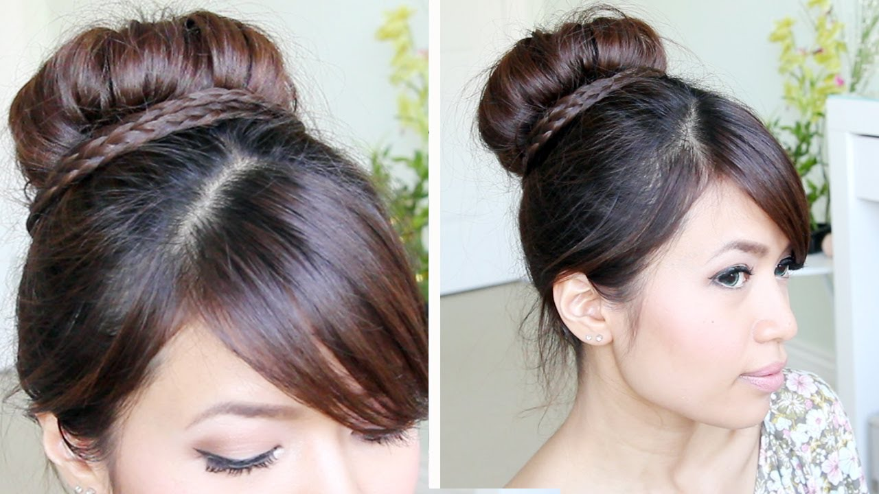 Sock Bun Braid Updo Hairstyle for Medium Long Hair Tutorial - YouTube