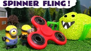 Minions Fidget Spinner Fling Scary Spider with Thomas The Tank Engine and Dinosaurs kids story TT4U