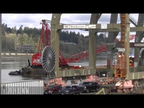 Arrival of Barge Crane to Remove Tower Cranes