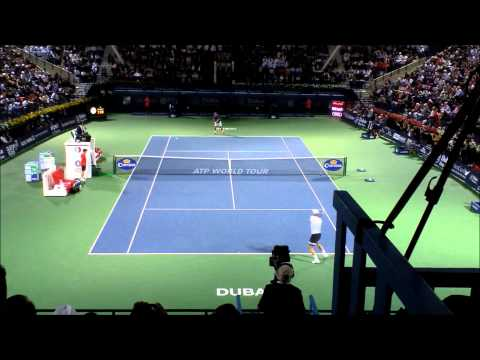 Roger Federer Final winning shot at the 2014 Dubai Duty Free Tennis Championships