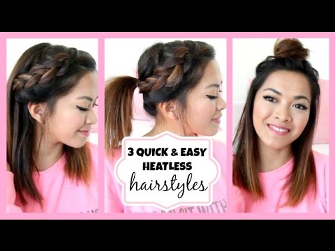 Running Late!! 3 Quick & Easy Hairstyles for Short/Medium Length Hair! ♡ ThatsHeart