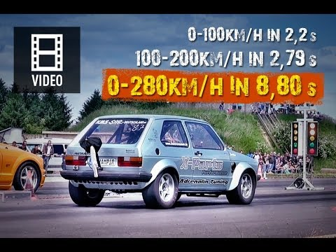 VW Golf Mk1 AWD Onboard 0-280kmh in 8,8s Brutal Acceleration