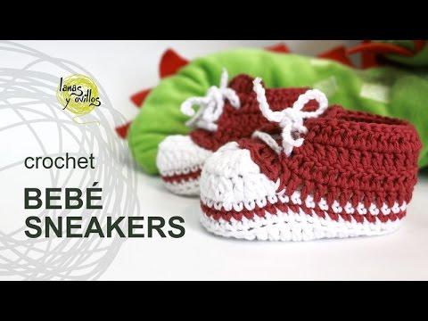 Tutorial Zapatillas Bebé Crochet o Ganchillo Tipo Converse Paso a Paso en Español