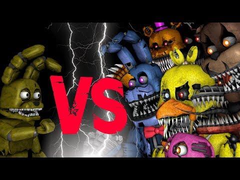 Plushtrap vs Nightmare Freddy Bonnie Chica Foxy Fredbear | FNAF SFM