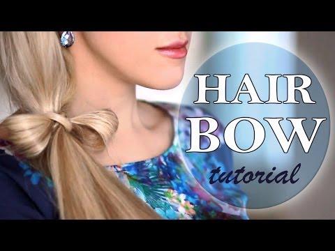 Hair bow ponytail hairstyle. Long hair tutorial.