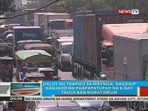 Daloy ng trapiko sa Maynila, nagsikip kasunod ng pagpapatupad ng 8-day truck ban moratorium
