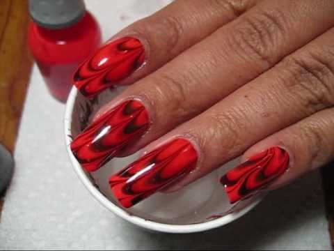 Halloween Orange & Black Flames Water Marble Nail Art Tutorial - YouTube
