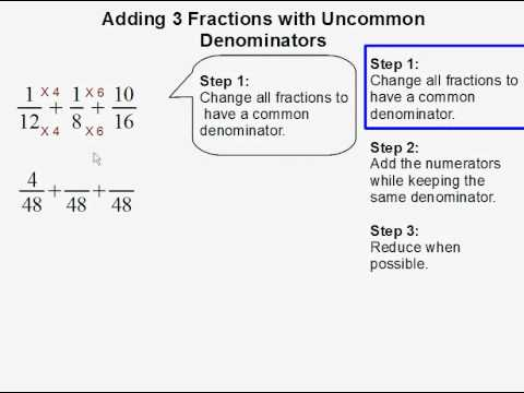 Adding 3 fractions with uncommon denominators youtube