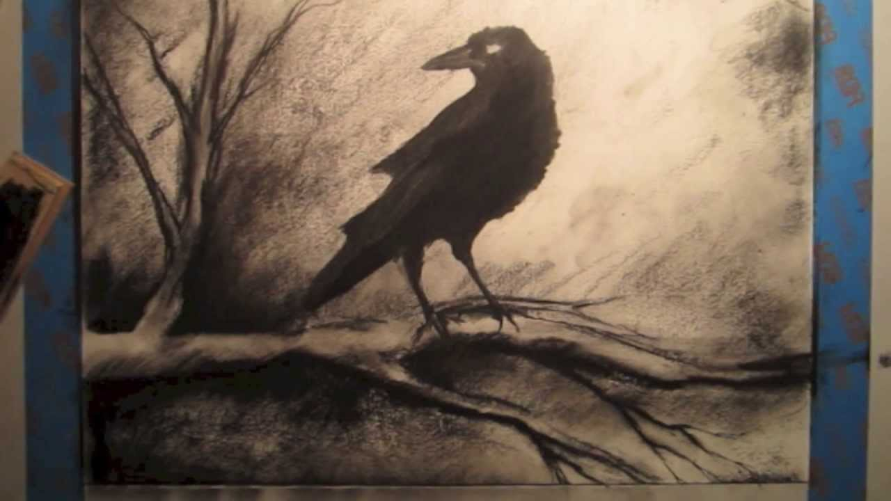 How To Draw A Crow On A Tree Branch Tutorial Youtube