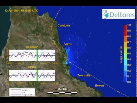 Storm surge of Cyclone Ita making landfall in Queensland (Australia)