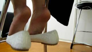 Whit Tissue Ballerina Flats Dangling