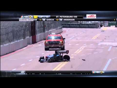 Scott Anderson Big Crash @ 2014 Indy Lights St Peterburg