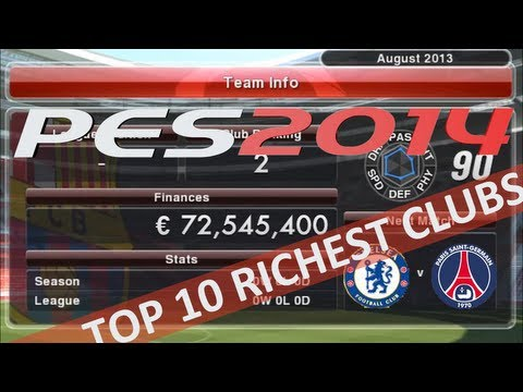 PES 2014 Top 10 Richest Clubs Master League