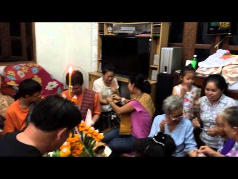 Pook kane blessing with I Pong's family in Laos 2014