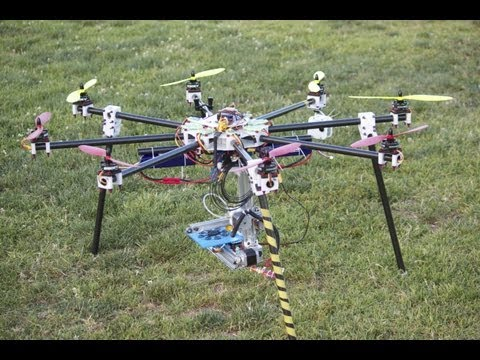 Bukito 3D Printer Flying While Printing 3D Object Lifted by Octocopter