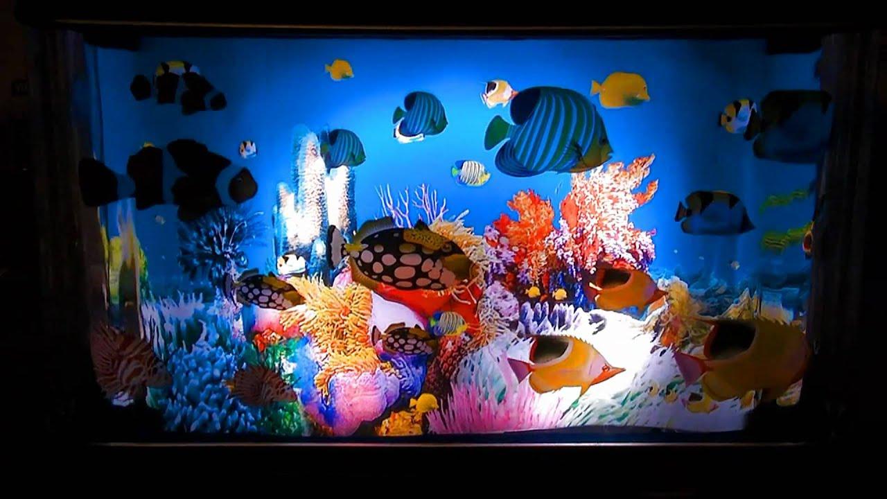 Living aquarium lamp youtube for Fake fish tank with moving fish