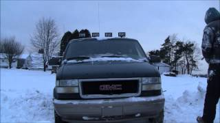 AWD GMC Safari  in deep snow