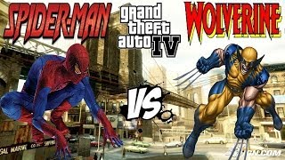 SPIDER-MAN VS WOLVERINE MARVEL SUPERHEROES BATTLE GTA