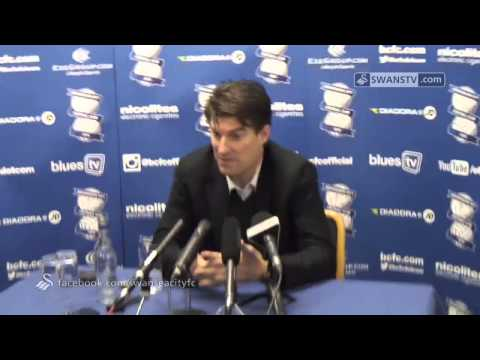 Swansea City Video: Michael Laudrup Birmingham reaction.