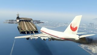 """GTA5 - Massive Air Plane """"Emergency Landing"""" at helicarrier GTA5 (This is From GTA5 game)"""
