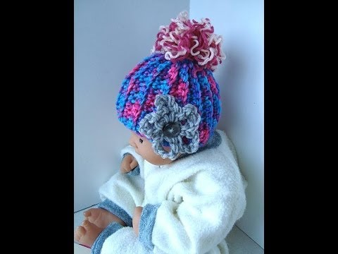 How to CROCHET a BABY HAT, pattern, you tube video tutorial, ribbing ...
