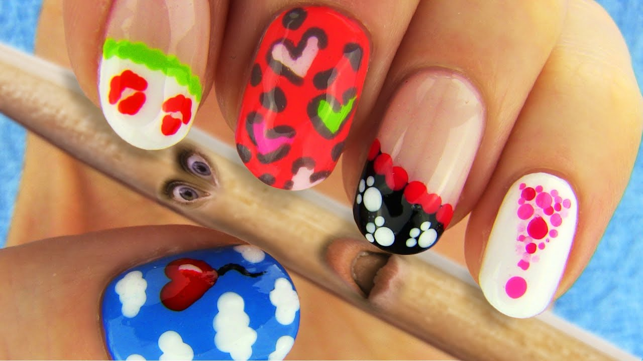 6 Nail Art Designs Nail Tutorial Using Toothpick As A Dotting Tool - YouTube