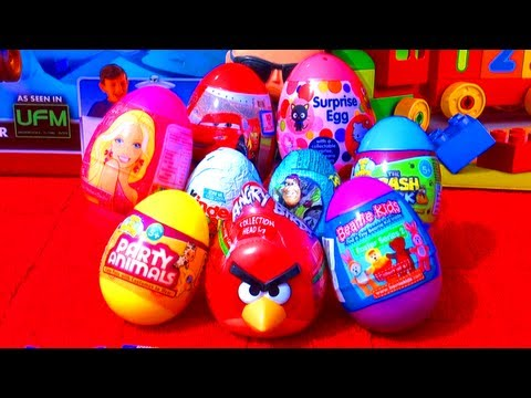 9 Surprise Eggs Unboxing Kinder Surprise Toy Story Hello Kitty Barbie Angry Birds Cars 2 Easter Eggs