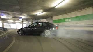 Drifting Up a Circular Ramp in a Parking Garage