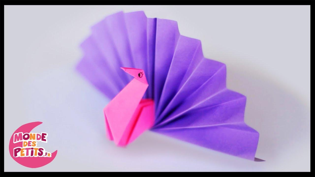 origami le paon en papier pli youtube. Black Bedroom Furniture Sets. Home Design Ideas