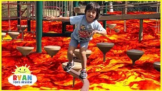 The floor is Lava challenge Family Fun Kids Pretend playtime