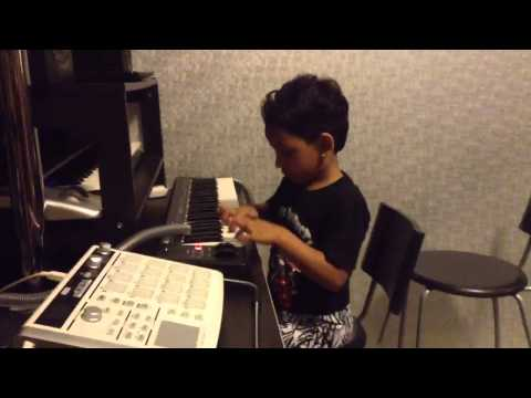 My daughter Nafisa workin on some BGM !