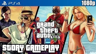Grand Theft Auto V (PS4) 3 Hour Story Gameplay [1080p