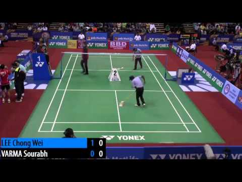 R16 - MS - LEE Chongwei vs Sourabh VARMA - 2014 India Badminton Open