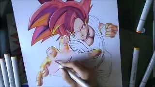 [DBZ] How To Draw Goku Super Saiyan God / Comment Dessiner