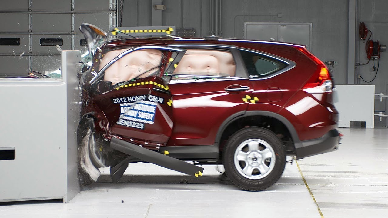 2012 honda cr v small overlap iihs crash test youtube for Iihs honda crv
