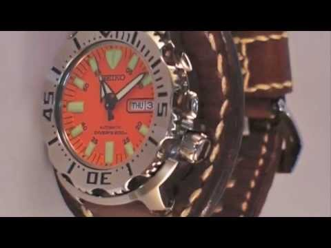 Seiko Orange Monster & Handmade vintage leather watch strap/men's watchband BRL| Custom made