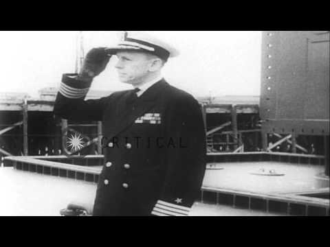 Floating dry docks for repairs in the Pacific Ocean with USS Cleveland, CL-55, du...HD Stock Footage