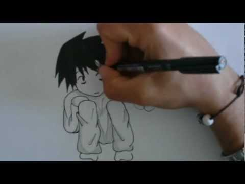 Speed drawing chibi L Lawliet -Death Note-, Drawing on the fast paced chibi version of L from Death Note... Here is my gallery on deviantART: http://salvo91.deviantart.com/ Here is my Facebook page: ht...