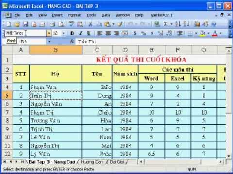 Hướng dẫn sử dụng MS Excel 2003 phần 1