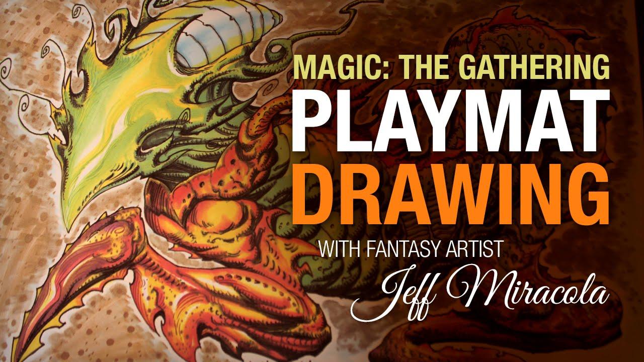 magic the gathering timelapse playmat drawing youtube