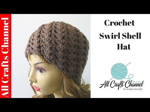 Crochet Shell Beanie Hat Pattern : How to crochet a swirl pattern beanie (Half shell stitch ...