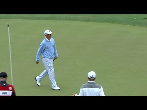 Nicholas Thompson drains a monster 49-foot putt at Shell