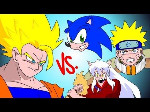 Goku VS Semua Karakter Nickledeon , Sonic , Naruto , Inusyha , POKEMON , all superhero