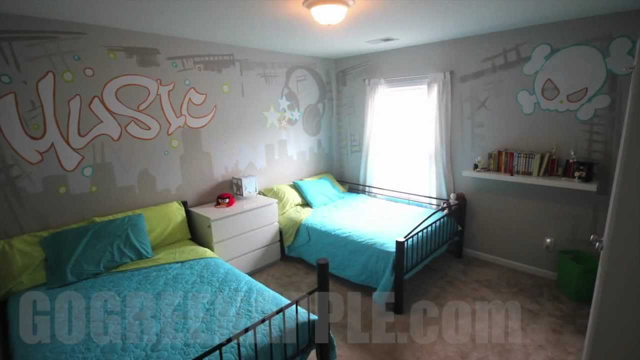 Kids bedroom makeover music theme ideas how to mural for Bedroom designs youtube