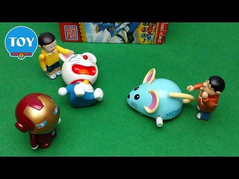 Doraemon sợ chuột mèo máy Iron Man trừng phạt Chaien  - Hoạt hình Doremon chế hài đồ chơi