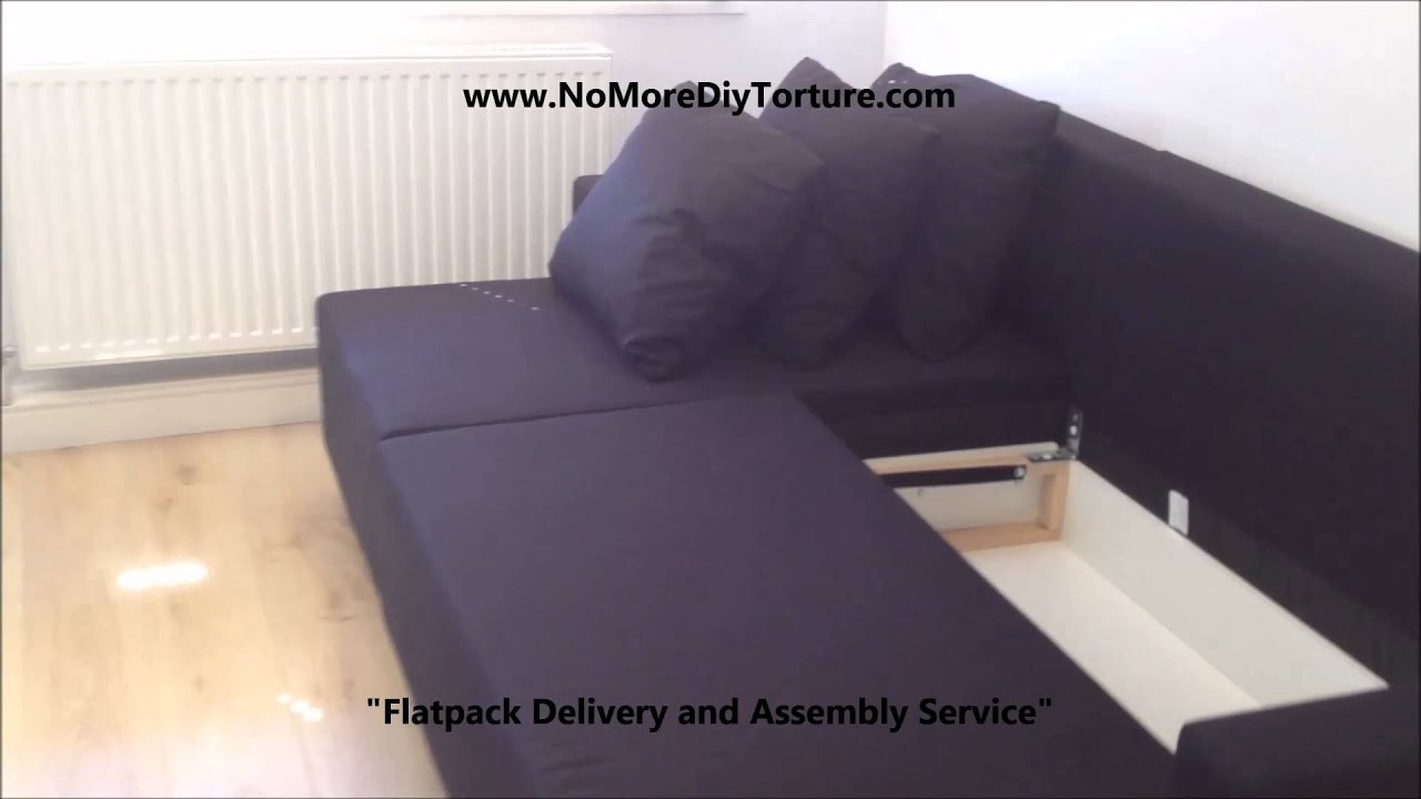 IKEA Lugnvik Corner sofa-bed with storage - YouTube